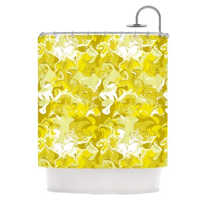 Marbleized Shower Curtain Color: Gold