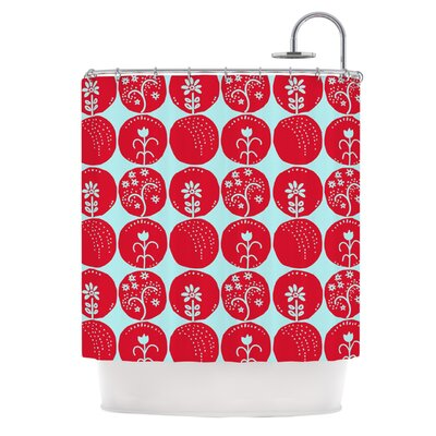 Dotty Papercut Shower Curtain Color: Red