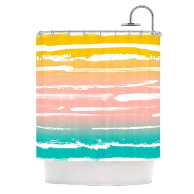 Painted Stripes Shower Curtain Color: Peach