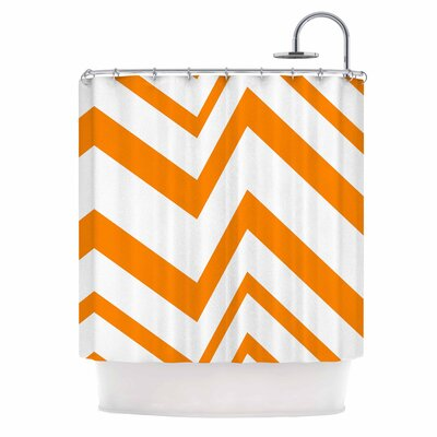 Zig Zag Shower Curtain Color: Orange