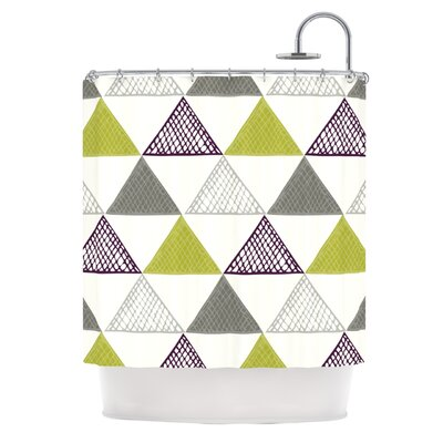 Textu Triangles Shower Curtain Color: Green / Gray / White