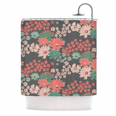 Bouquet Shower Curtain Color: Teal