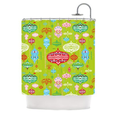Ornaments Shower Curtain Color: Red