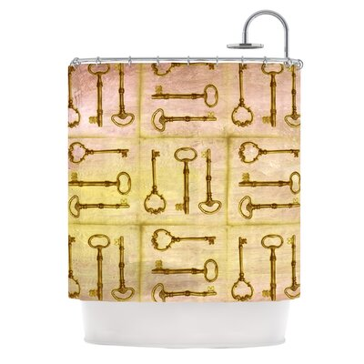 Secret Keys Shower Curtain Color: Tan