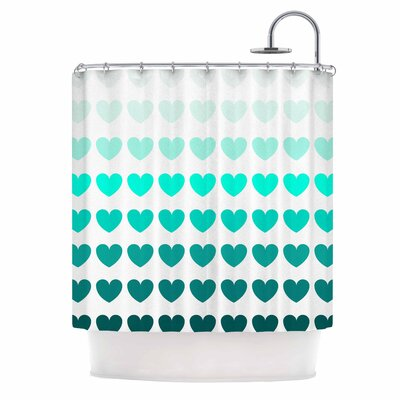 Hearts Shower Curtain Color: Teal