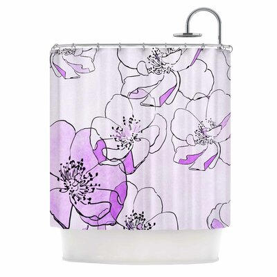 Painted Wild Roses Shower Curtain Color: Coral