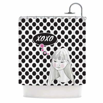 Xoxo Pop Art Polka Dot Girl Shower Curtain