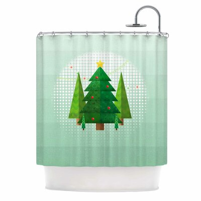 Geometric Christmas Tree Shower Curtain