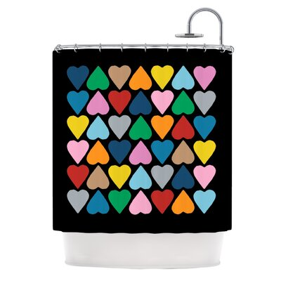 Up and Down Hearts on Black Shower Curtain