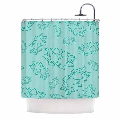 Lotus Pattern Shower Curtain Color: Red