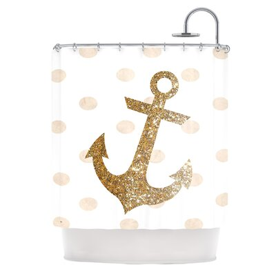 Glitter Anchor Shower Curtain Color: Gold
