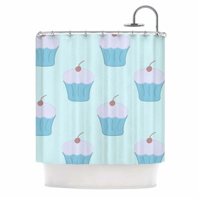 Cupcakes Shower Curtain Color: Blue