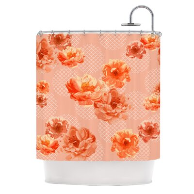 Lace Peony Shower Curtain Color: Orange