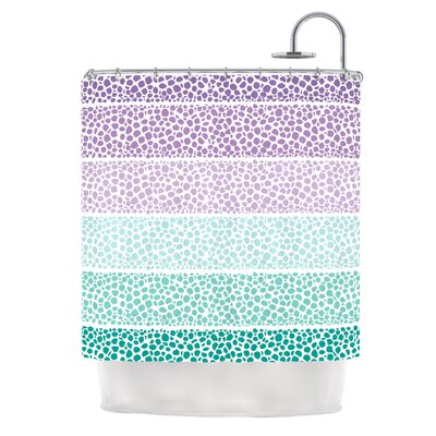 Riverside Pebbles Shower Curtain Color: Purple / Teal