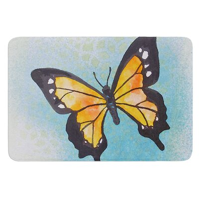 Flutter by Padgett Mason Bath Mat Color: Purple/Lime Green