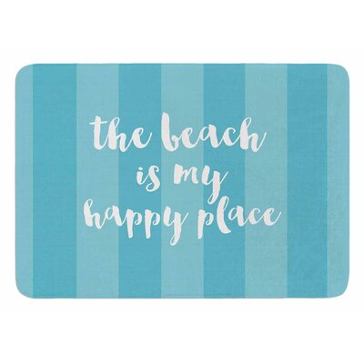 Beach is My Happy Place by Sylvia Cook Bath Mat Color: Blue