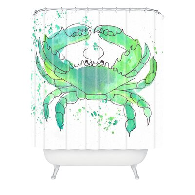 Seafoam Green Crab by Laura Trevey Shower Curtain