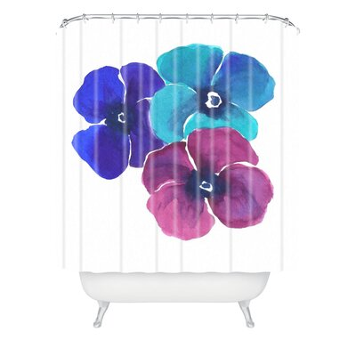Jewel Tone Pansies by Laura Trevey Shower Curtain
