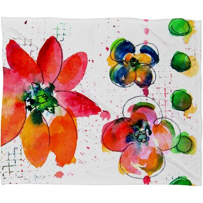 Summer in Watercolor Fleece by Laura Trevey Throw Blanket Size: Medium