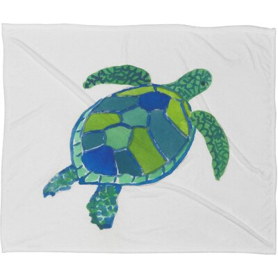 Sea Turtle Fleece by Laura Trevey Polyester Throw Blanket Size: Large