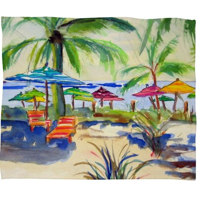 Caribbean Time Fleece by Laura Trevey Throw Blanket Size: Medium