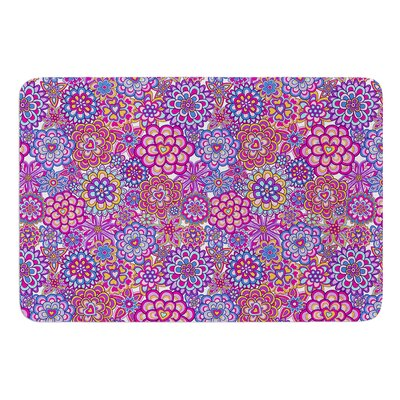My Happy Flowers by Julia Grifol Bath Mat Color: Blue/Purple, Size: 24 W x 36 L