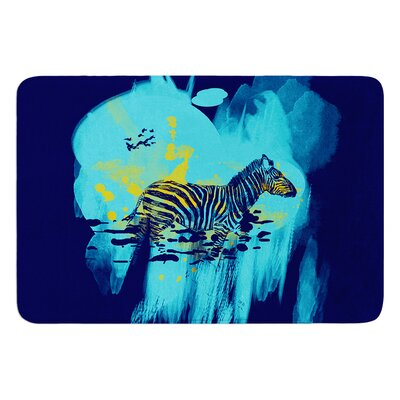 Watercolored by Frederic Levy-Hadida Bath Mat Color: Blue, Size: 17W x 24L