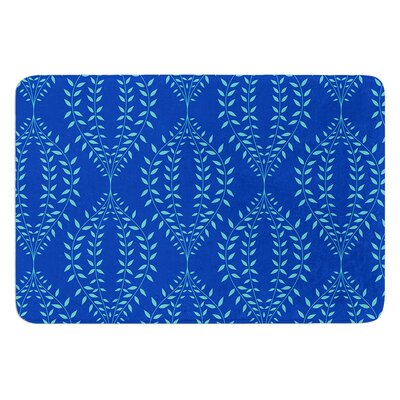 Laurel Leaf by Anneline Sophia Bath Mat Color: Blue, Size: 24 W x 36 L