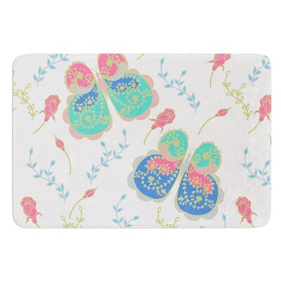 Leafy Butterflies by Anneline Sophia Bath Mat Color: Red, Size: 24 W x 36 L