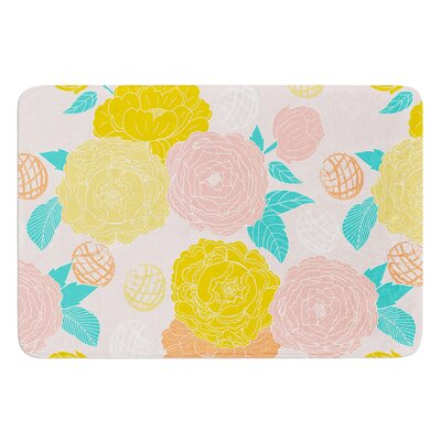 Peonies by Anneline Sophia Bath Mat Color: Peach, Size: 24 W x 36 L