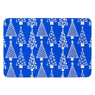 Jolly Trees by Emine Ortega Bath Mat Color: Blue, Size: 24 W x 36 L