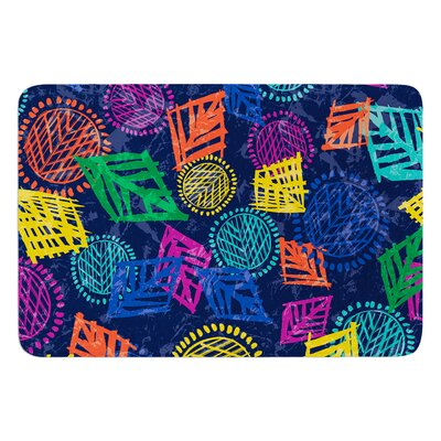 African Beat by Emine Ortega Bath Mat Color: Blue, Size: 24 W x 36 L