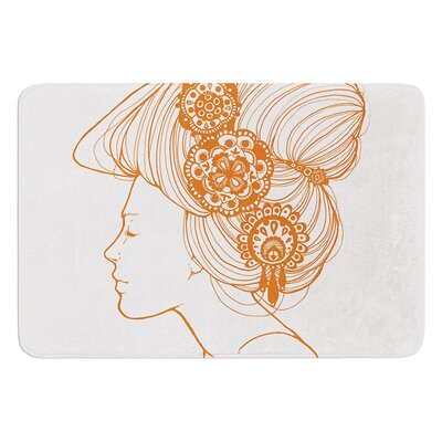 Organic by Jennie Penny Bath Mat Color: White/Orange, Size: 17W x 24L