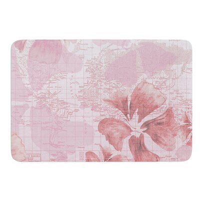 Flower Power by Catherine Holcombe Bath Mat Color: Blue, Size: 24 W x 36 L