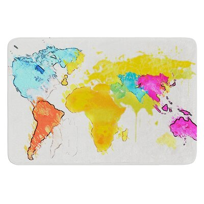 World Map by Oriana Cordero Bath Mat