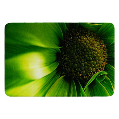 Green Flower by Robin Dickinson Bath Mat