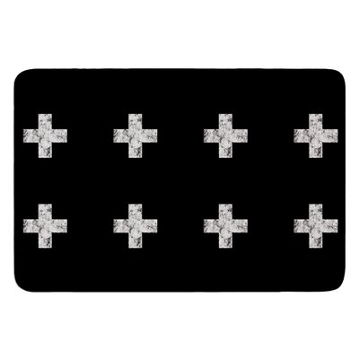 Swiss Cross by Skye Zambrana Bath Mat Color: Black