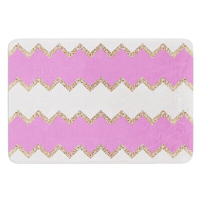 Avalon Chevron by Monika Strigel Bath Mat Color: Coral/Mint