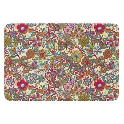 My Butterflies and Flowers by Julia Grifol Bath Mat Color: Yellow, Size: 24 W x 36 L