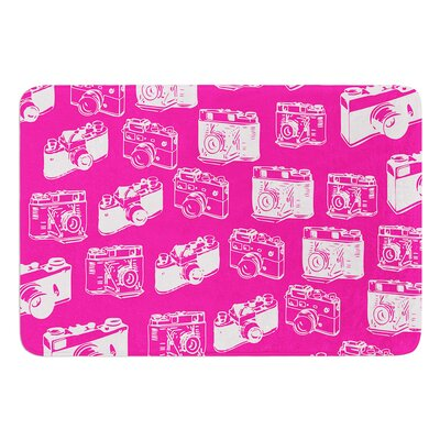 Camera Pattern InHouse Bath Mat Color: Pink, Size: 17W x 24L