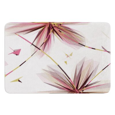 Flower by Alison Coxon Bath Mat Color: Teal, Size: 17W x 24L