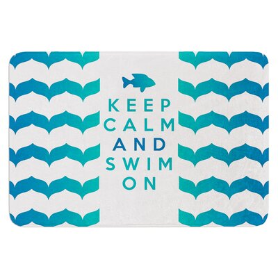 Keep Calm and Swim On by Nick Atkinson Bath Mat