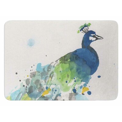 Abstract Watercolor Peacock Bath Mat
