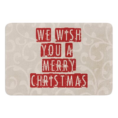 We Wish You A Merry Christmas by Sylvia Cook Bath Mat