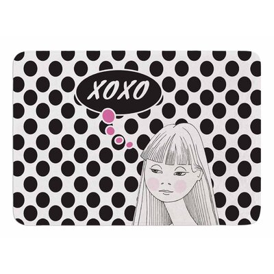 XOXO Pop Art Polka Dot Girl by Zara Martina Mansen Bath Mat
