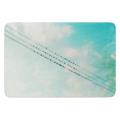 Birds on Wires by Sylvia Cook Bath Mat