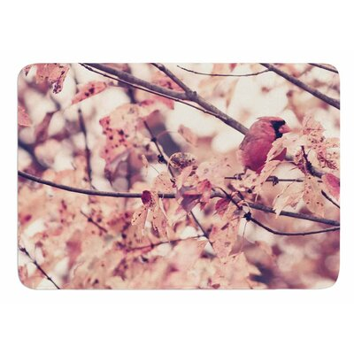 Angry Bird in Fall Leaves by Qing Ji Bath Mat