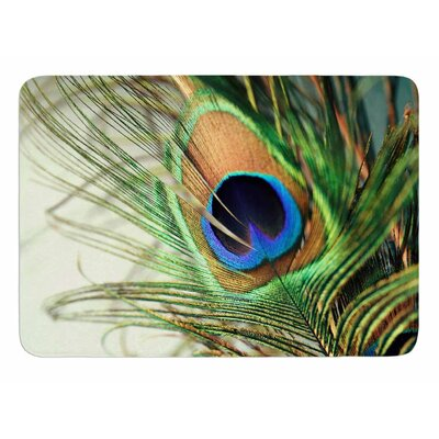 Teal Peacock Feather by Sylvia Cook Bath Mat