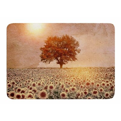 Lone Tree and Sunflowers Field by Viviana Gonzalez Bath Mat
