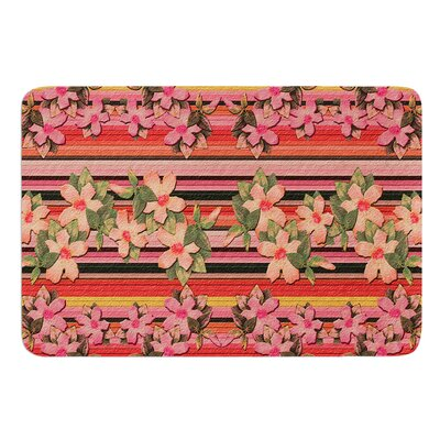 Peach Hibiscus Stripe by Nina May Bath Mat